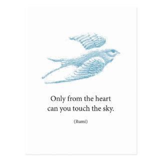ヴィンテージの青の鳥 ポストカード