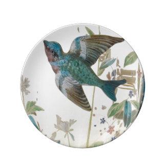 ヴィンテージの青の鳥 磁器プレート