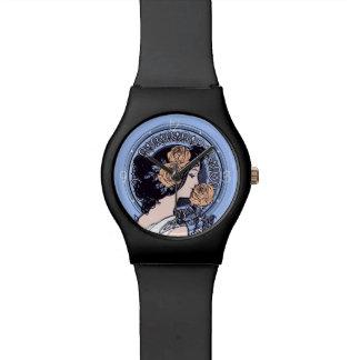 ヴィンテージの青アールヌーボー 腕時計