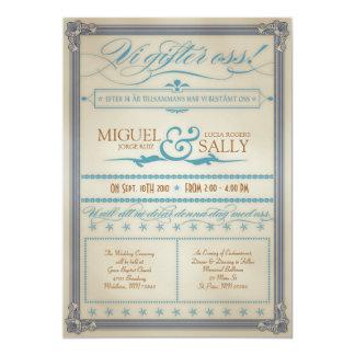 ヴィンテージの青及びブラウンのスウェーデン人の結婚式招待状 カード
