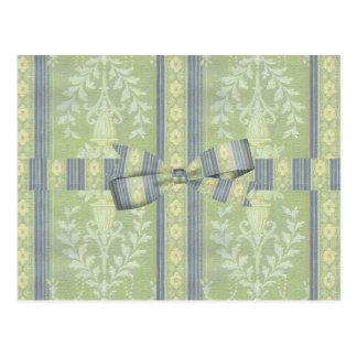 ヴィンテージの青緑花の装飾の壁紙パターン ポストカード
