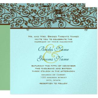 ヴィンテージの青銅色の鉄の仕事の結婚式招待状 カード