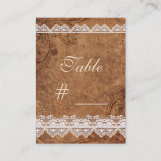 Vintage Leather and  Lace Table Number Card