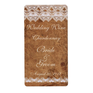 Vintage Leather and Lace Wedding Wine Label