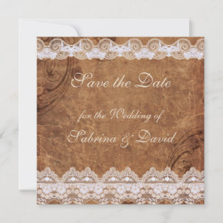 Vintage Leather and Lace Save the Date