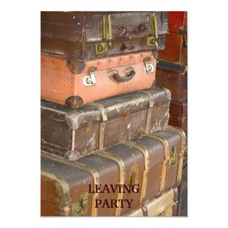 ヴィンテージの革スーツケースの招待状 カード