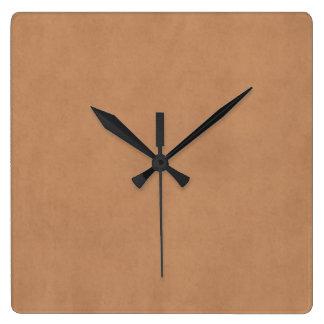 ヴィンテージの革ブラウンのアンティークの紙のテンプレートのブランク スクエア壁時計
