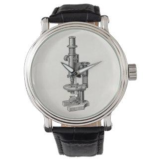 ヴィンテージの顕微鏡古く旧式な科学の顕微鏡 腕時計
