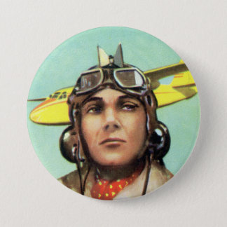 ヴィンテージの飛行士のプリント 7.6CM 丸型バッジ