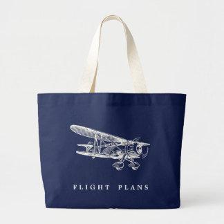 ヴィンテージの飛行機、フライトプラン ラージトートバッグ