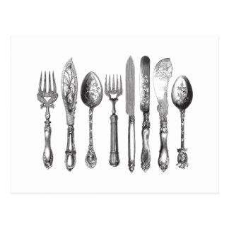 ヴィンテージの食事用器具類の白黒のフォークのスプーンのナイフの19世紀 ポストカード
