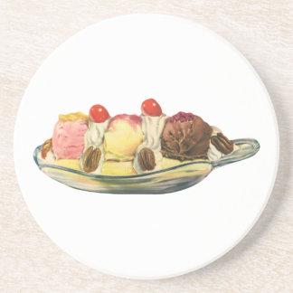 ヴィンテージの食糧デザート、バナナスプリットのさくらんぼ コースター