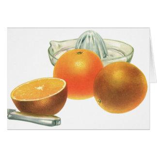 ヴィンテージの食糧フルーツ、熟したオレンジのジューサーの朝食 カード