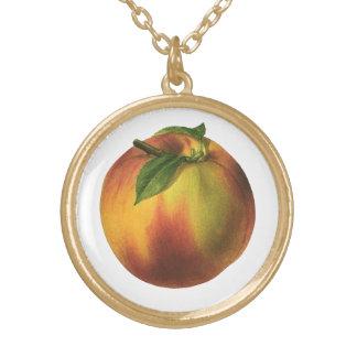 ヴィンテージの食糧フルーツ、葉が付いている熟したオーガニックなモモ ゴールドプレートネックレス