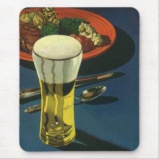 ヴィンテージの食糧飲み物、ビール、夕食のガラス マウスパッド
