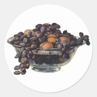 ヴィンテージの食糧、クルミおよびアーモンド、フルーツおよびナット ラウンドシール