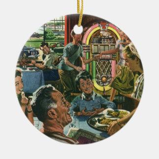 ヴィンテージの食糧、家族の夕食の食事のダイナーのレストラン セラミックオーナメント