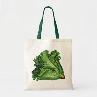 ヴィンテージの食糧、緑の葉レタスの野菜 トートバッグ