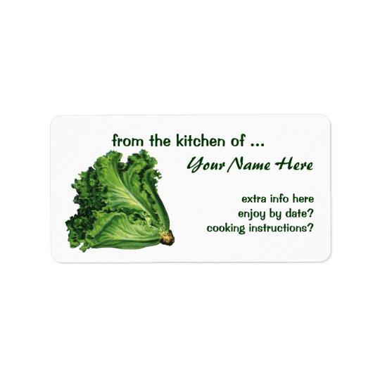 ヴィンテージの食糧、緑の葉レタスの野菜 ラベル