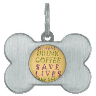 ヴィンテージの飲み物のコーヒー保存は住み、Selfiesを取ります ペットネームタグ