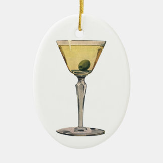 ヴィンテージの飲み物の飲料、マルティーニのオリーブのカクテル セラミックオーナメント