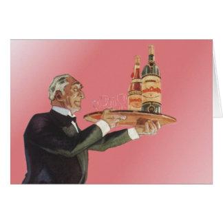 ヴィンテージの飲料、執事、飲み物、ガラス、ワイン カード