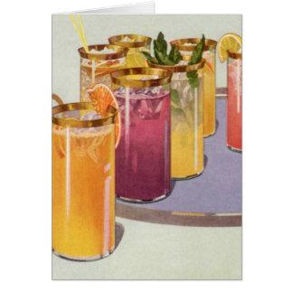 ヴィンテージの飲料、皿の角氷が付いている飲み物 カード