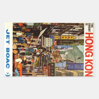 ヴィンテージの香港航空会社旅行広告 長方形シール