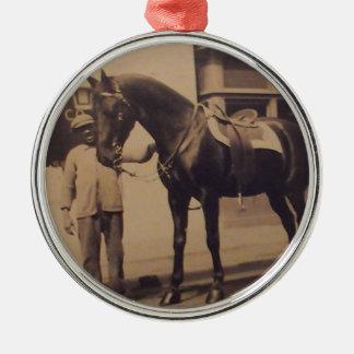 ヴィンテージの馬の写真 メタルオーナメント