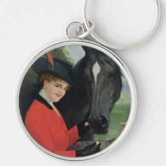 ヴィンテージの馬の女の子の赤いコートの乗馬の砂糖の立方体 キーホルダー
