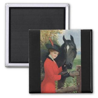 ヴィンテージの馬の女の子の赤いコートの乗馬の砂糖の立方体 マグネット