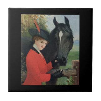 ヴィンテージの馬の女の子の赤い乗馬のジャケット タイル