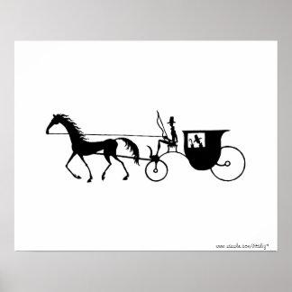 ヴィンテージの馬キャリッジペンインクスケッチポスター ポスター