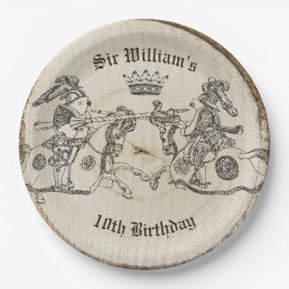 ヴィンテージの馬上槍試合の騎士王冠の紙皿 ペーパープレート