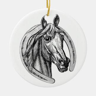 ヴィンテージの馬及び蹄鉄のクリスマスツリーのオーナメント セラミックオーナメント