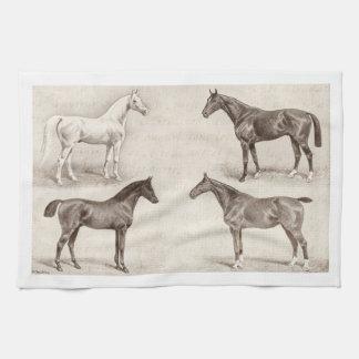 ヴィンテージの馬-馬および子馬のテンプレートの馬 キッチンタオル