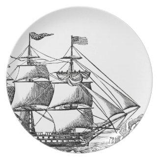 ヴィンテージの高い船のWoodblockのプリントのメラミンプレート プレート