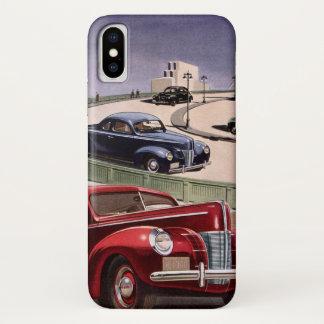 ヴィンテージの高速道路のクラシックなセダンの自動車運転 iPhone X ケース