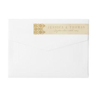 ヴィンテージの魅力的な金ゴールドのダマスク織の結婚式のコレクション ラップアラウンド返信用宛名ラベル