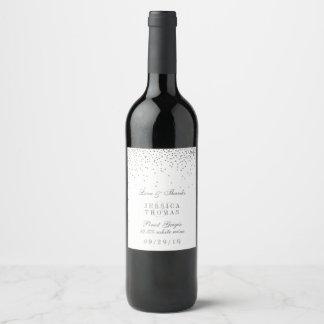 ヴィンテージの魅力的な銀製の紙吹雪の結婚式のワイン・ボトル ワインラベル