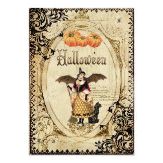 ヴィンテージの魔法使いのハローウィンパーティの招待状カード カード