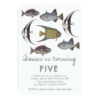 ヴィンテージの魚の誕生日の招待状 カード