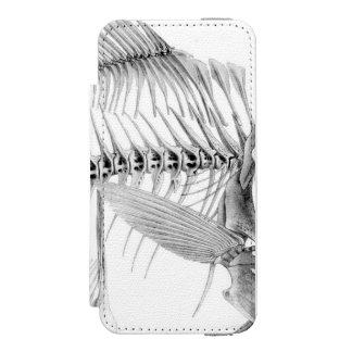 ヴィンテージの魚の骨組エッチング iPhone SE/5/5sウォレットケース