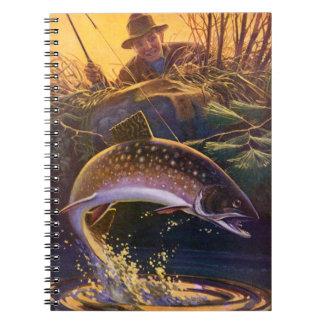 ヴィンテージの魚、マスの捕獲物nを採取するスポーツは解放します ノートブック