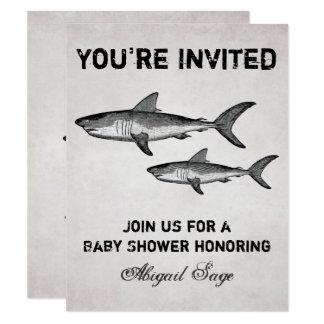 ヴィンテージの鮫の海のベビーシャワーのビーチの招待状 カード