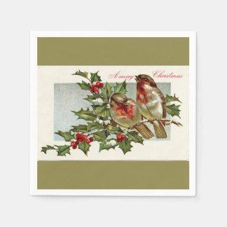 ヴィンテージの鳥およびヒイラギのクリスマスの照明のオリーブ スタンダードカクテルナプキン