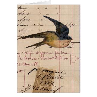 ヴィンテージの鳥および元帳紙のデジタル芸術 カード