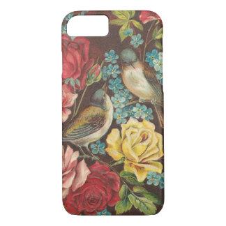 ヴィンテージの鳥および花 iPhone 7ケース