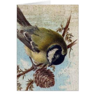 ヴィンテージの鳥およびPineconeの誕生日 カード