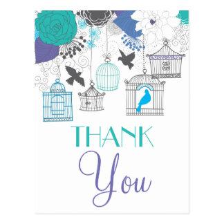 ヴィンテージの鳥かごおよび花は郵便はがき感謝していしています